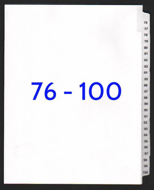 Avery Legal Exhibit Dividers 101-125