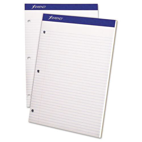 Ampad White Dual Pad Letter Size 3 Hole Punched