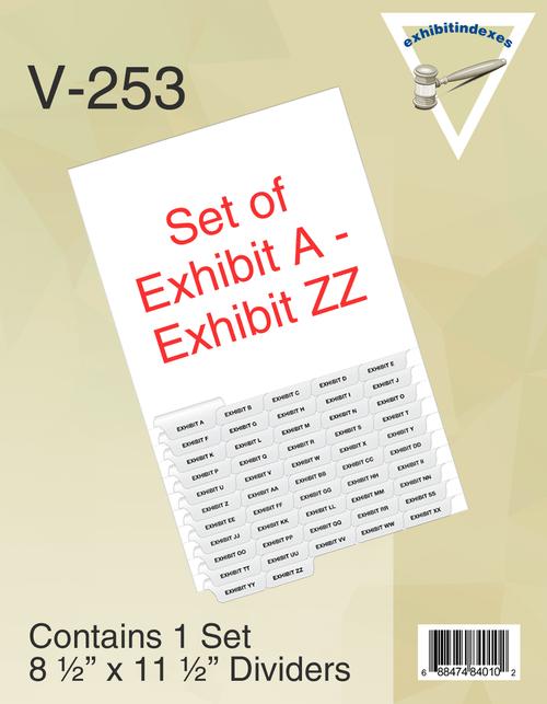 Set of 52 Exhibit Tabs