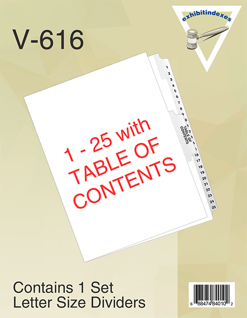 1-25 Dividers with Table of Contents