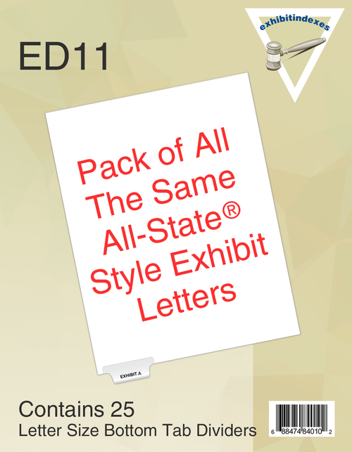 All-State Style Tabs are upper and lower case, 6 across the bottom