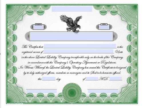 Downloadable LLC Units Certificates