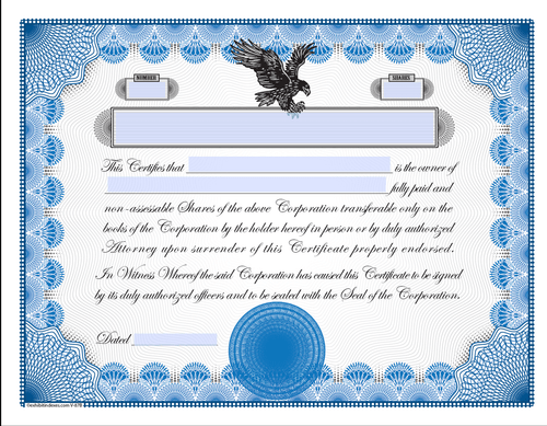 image relating to Printable Stock Certificate titled Printable Inventory Certificates