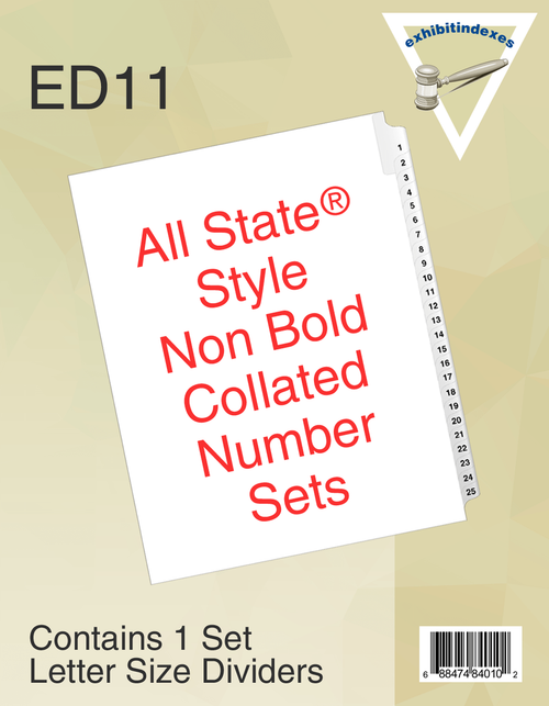 All-State® Style ED11 Collated Numbered Sets