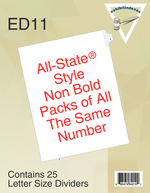 All-State® Style ED11 Individual Numbers