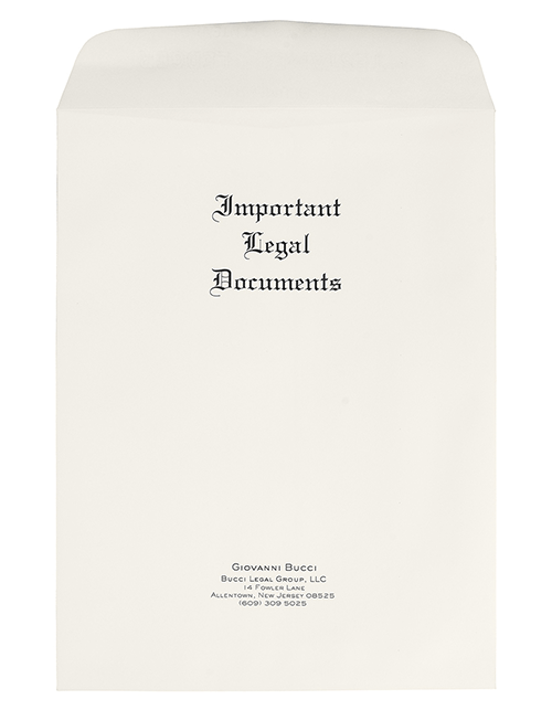 Personalized Large Important Legal Documents Envelopes