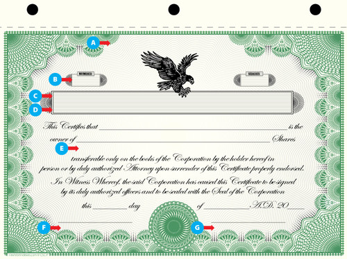 Custom Printed Corporate Stock Certificates