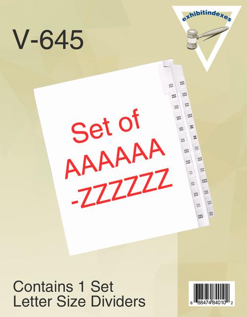 AAAAAA-ZZZZZZ Dividers (6A-6Z)