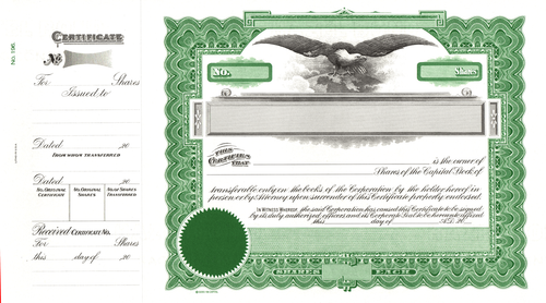 Goes 196 Capital Stock Certificates (Pack of 15)