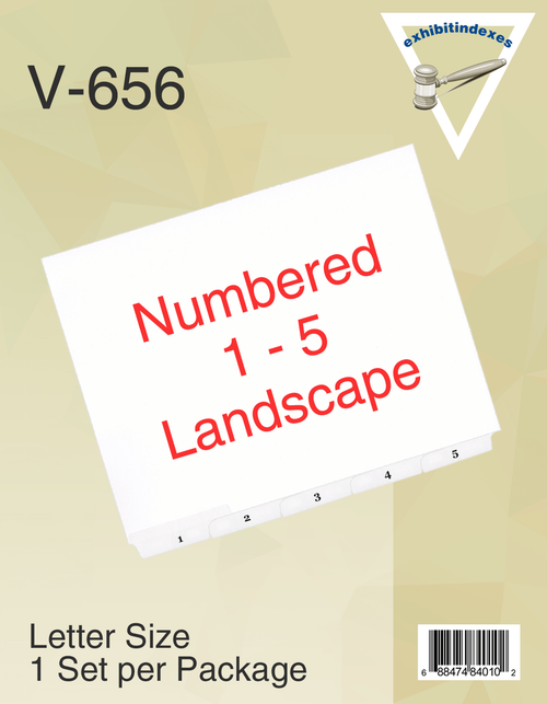 Numbers 1 - 5 Landscape