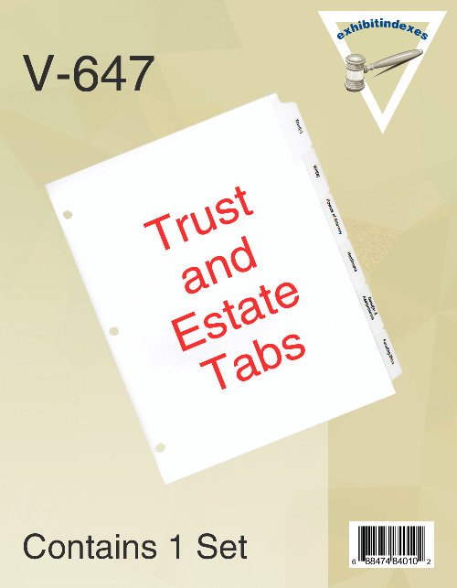 Estate Planning Tabs - ExhibitIndexes com