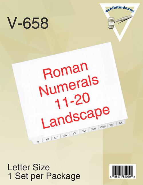 Roman Numerals II-XX Landscape