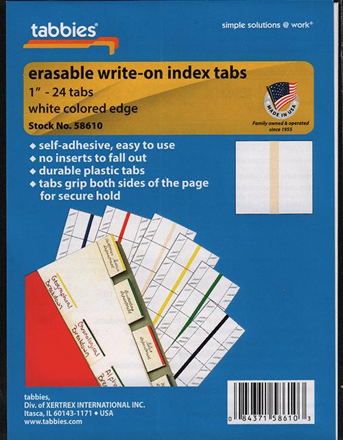 """Tabbies 58610 1"""" Write on Tabs Tabs"""