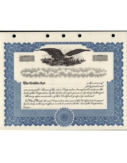 Corporate Stock Certificates 5187 Blue