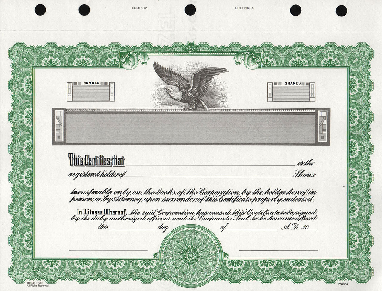 kg2 corporate stock certificates free shipping