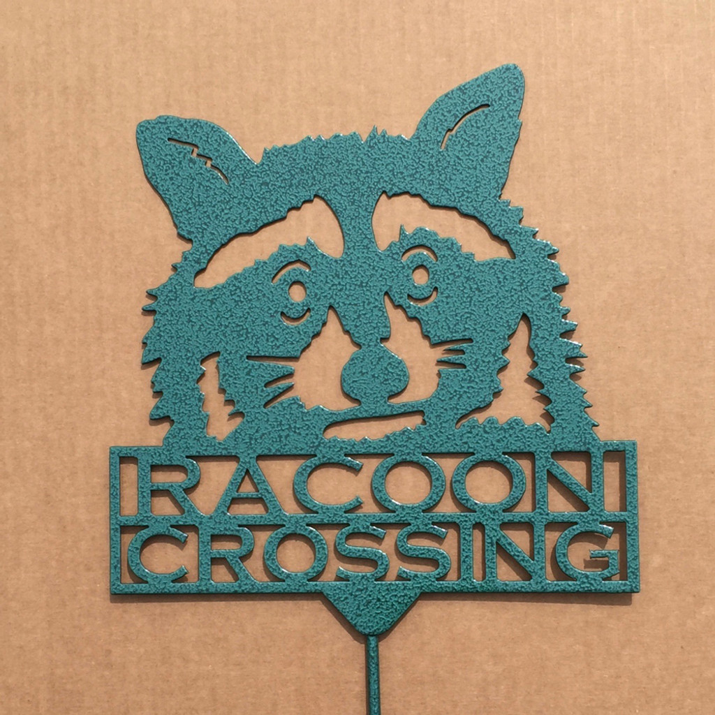 Raccoon Crossing Garden Stake (Z3)