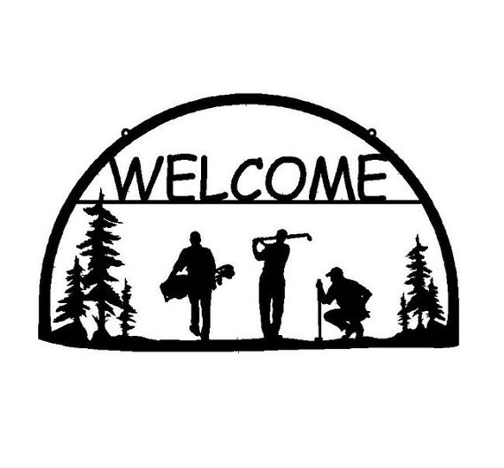 Metal Welcome Sign Golfers (O7)