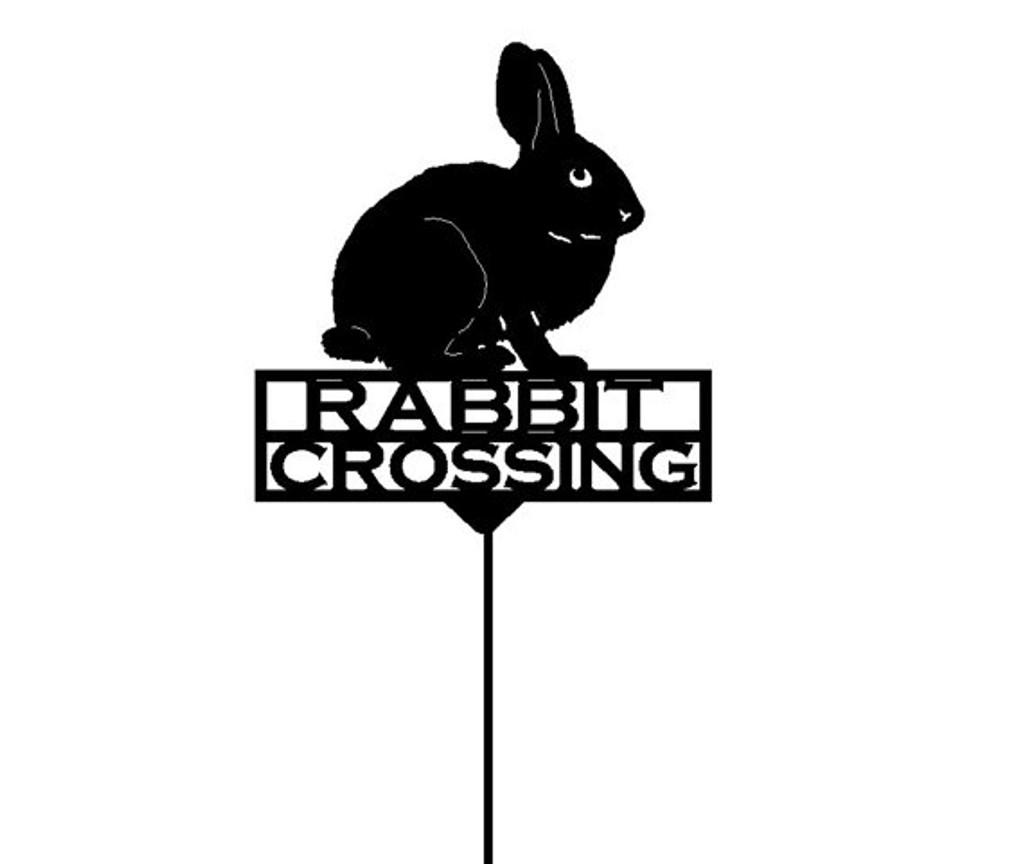 Rabbit Crossing Metal Garden Stake (Y17)