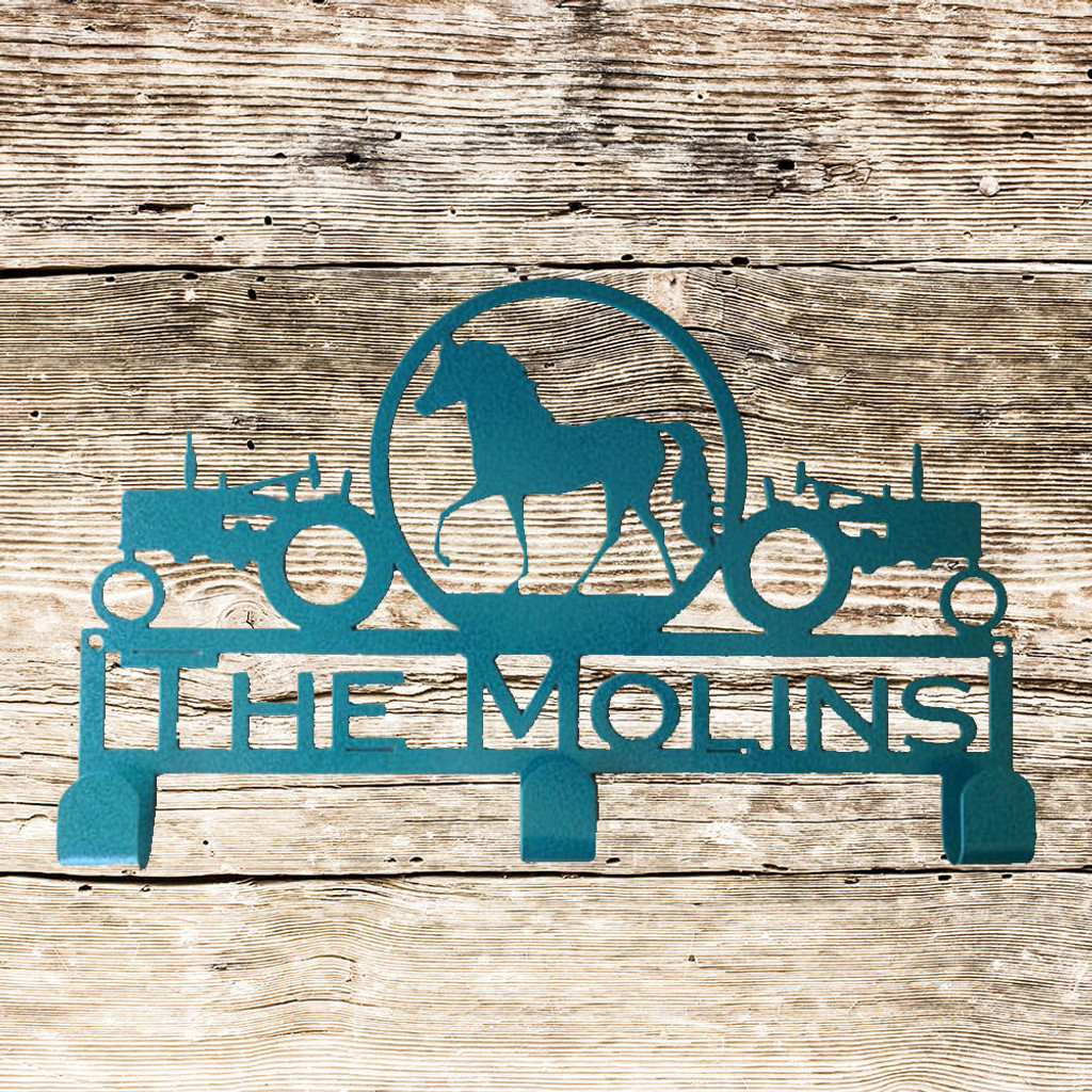 Tractors and Horse Hat/Coat Rack with Personalized Text (K21)