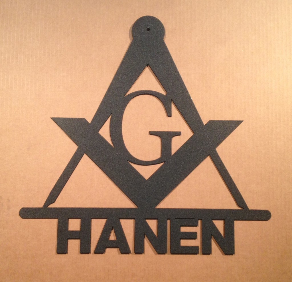 Masonic Metal Wall Sign with Personalized Text