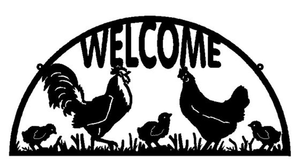 Welcome Sign with Rooster, Hen and Chicks (X30)