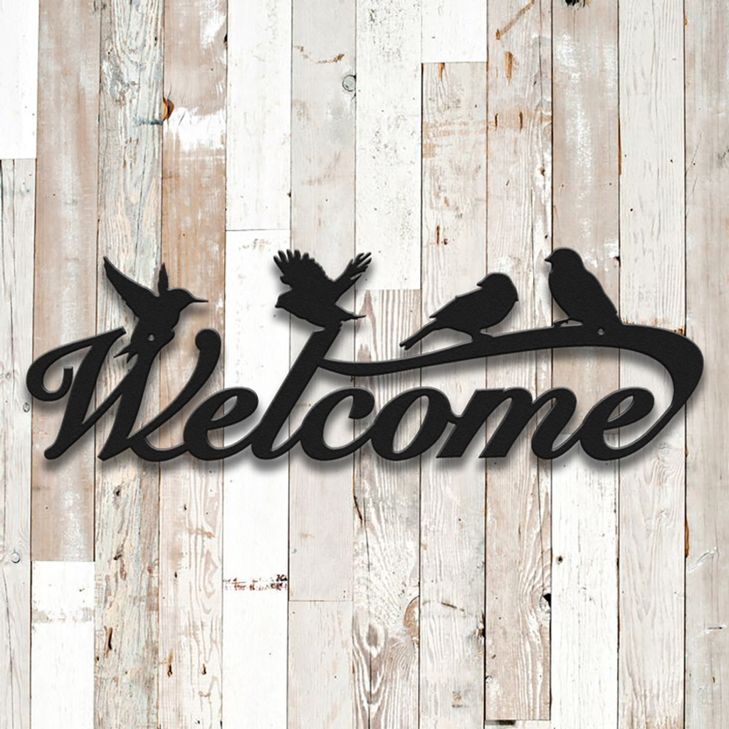 Welcome Sign with Birds (F50)