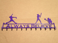 Softball Medal / Ribbon Holder with A Pitcher Batter and Fielder and Custom Text Box (W25)