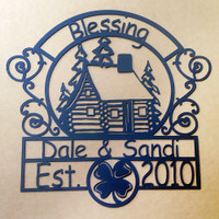 Ranch Sign with Personalized Text Field Log Home Design (R8)