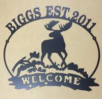 Custom Name Moose Welcome Sign (S6)