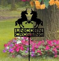Metal Art Unicorn Crossing Garden Stake (Z1)
