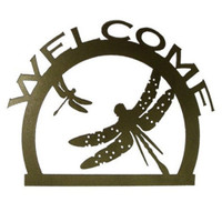 Welcome Sign with Dragonfly Metal Wall Art (I)