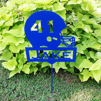 Football Helmet Garden Stake with Custom Text Box and Your Number in the Helmet  (A28)