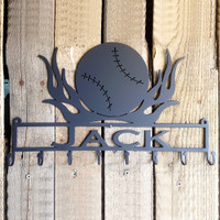 Medal Holder Baseball with Flames with Custom Text Box with 8 Hooks   (D28)