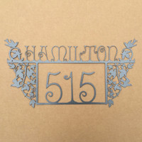 Address Sign with Birds and Custom Name Field Metal (H6)