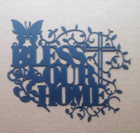 Bless Our Home with Cross Metal Wall Art (M15)