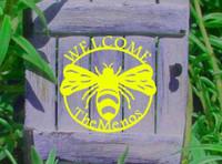 Custom Welcome Bumble Bee Metal Wall Art (G)