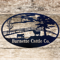 Cattle Grazing in the Field Ranch Sign (E24)