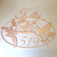 Personalized Address Sign with Cardinals on a Branch Metal Art  (O21)