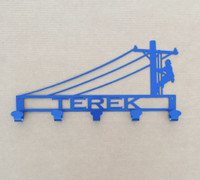 Medal Lineman Sign Coat/Hat Rack with Personalized Text Field (A43)