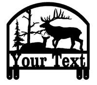 Bull Elk with Doe Mailbox Topper (D39)