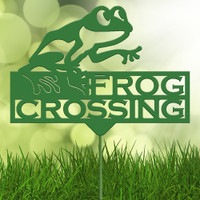 Frog Crossing Garden Stake (H31)