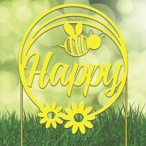 Bee Happy Garden Stake