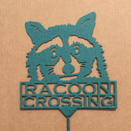 Raccoon Crossing Garden Stake (Z3)