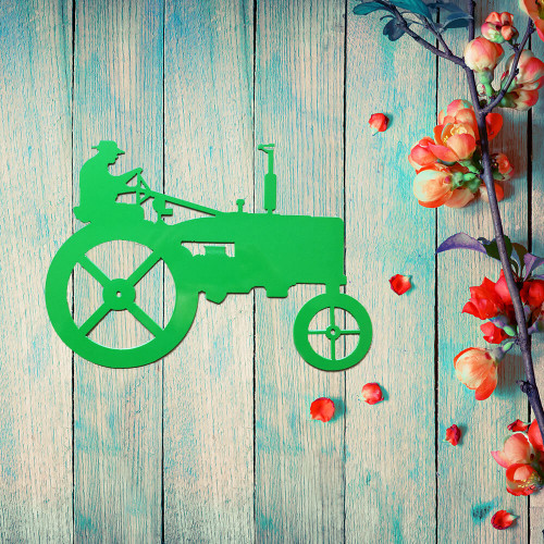 Farmer on Tractor Metal Wall Art (A4) Large