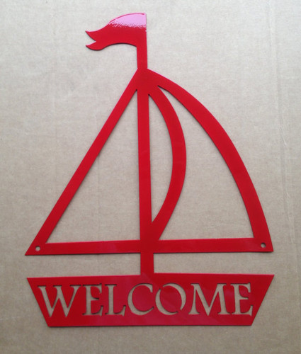 Metal Art Sailboat Welcome Metal Wall Art (F0)