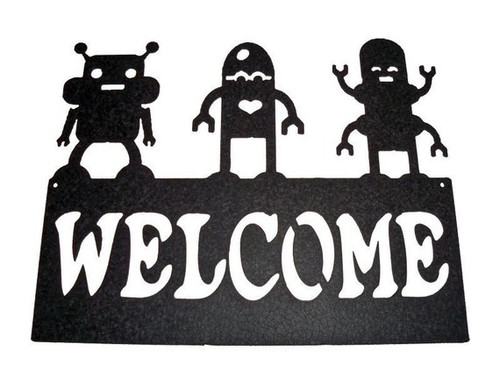 Welcome Sign with Three Robots Metal Wall Art (R)
