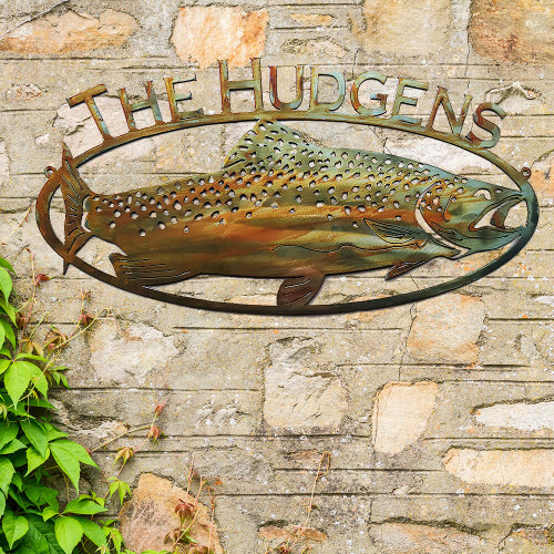 Trout Fish Sign with Custom Text (D13)