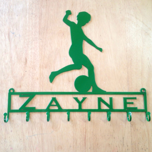 Medal Holder with Soccer Player Kicking Ball with Custom Text Field and 8 Hooks   (Z23)