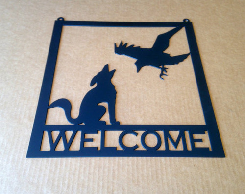 Metal Welcome Sign Coyote / Raven Metal Wall Art (U3)