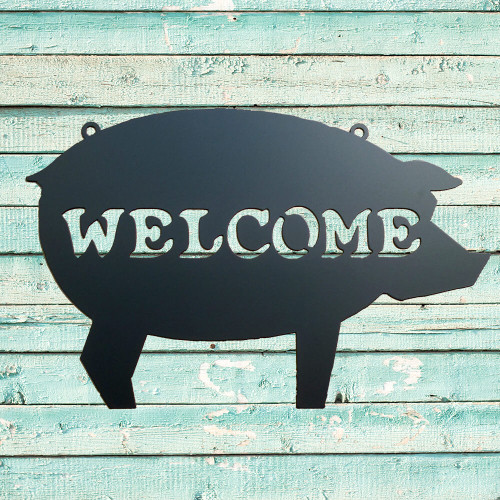 Pig Metal Welcome Sign (I6)